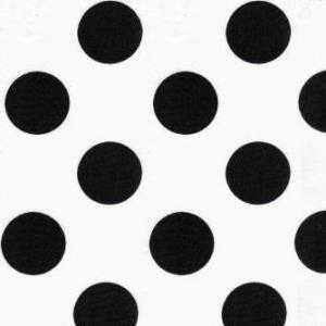 Black polka dots on white