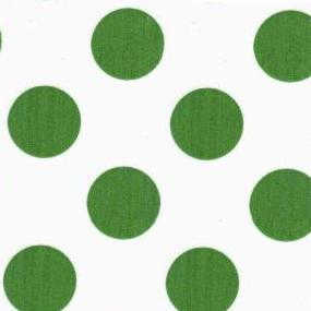 Green polka dots on white