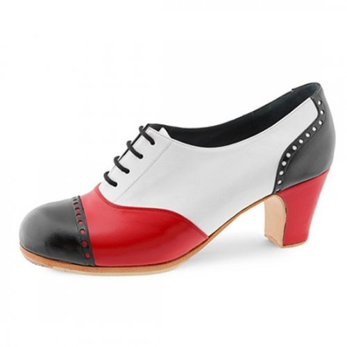 https://www.flamencista.com/Don Flamenco Shoes Model Fandango Pala Recta Tricolor