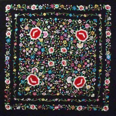 Flamenco Shawl Model 735-S Black Print