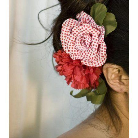 Flamenco Flower Model Granada Red Polka Dots on White