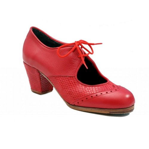 "https://flamencista.com/Professional Flamenco Shoes Model Chapin Serpiente ""'a compás"" Red"
