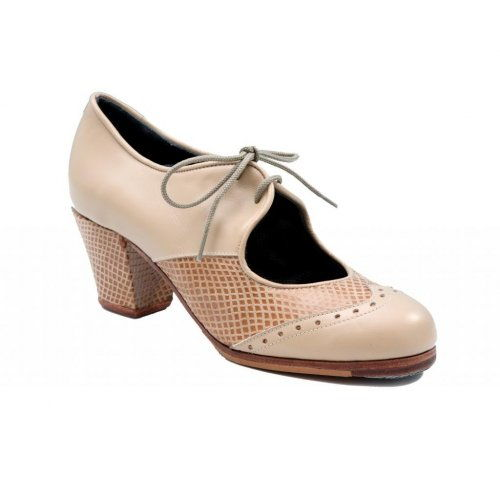 https://flamencista.com/Professional Flamenco Shoes Model Chapin Serpiente ¨a compás¨ Beige