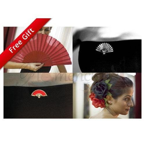 Flamenco Fan, Flower, Earrings + Free Brooch!